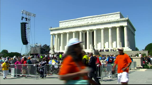 exterior shots of crowds lining the national mall in washington dc listening to various speakers at an anniversary event to commemorate the famous 'i... - black civil rights stock videos & royalty-free footage