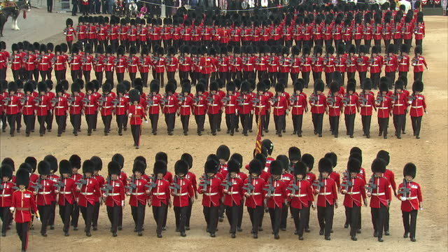exterior shots of crowds looking on during the trooping the colour ceremony at horse guards parade>> on june 13 2015 in london england - trooping the colour stock videos & royalty-free footage