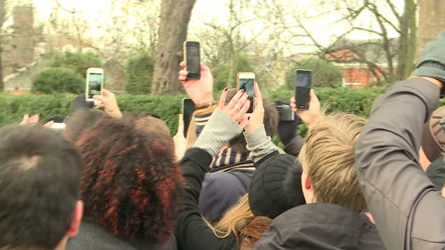 exterior shots of crowds of people gathered outside kensington palace craning to get pictures on their smartphones and cameras during a photocall by... - kensington palace video stock e b–roll
