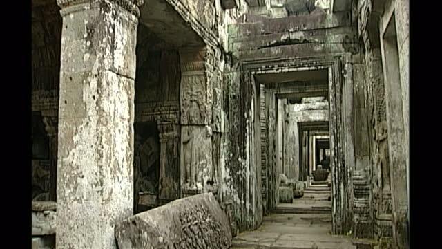 exterior shots of crumbling stonework of preah khan temple at angkor wat on april 27th 1998 in phnom penh cambodia - angkor stock videos and b-roll footage