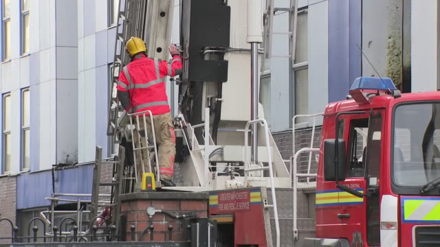 exterior shots of damaged student accommodation building where fire broke out on 16 november 2019 in bolton greater manchester united kingdom - misfortune stock videos & royalty-free footage