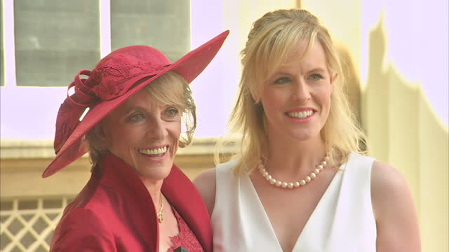 Exterior shots of Dame Esther Rantzen posing with her daughter Rebecca Wilcox after being appointed Dame of the British Empire at Buckingham Palace>>...