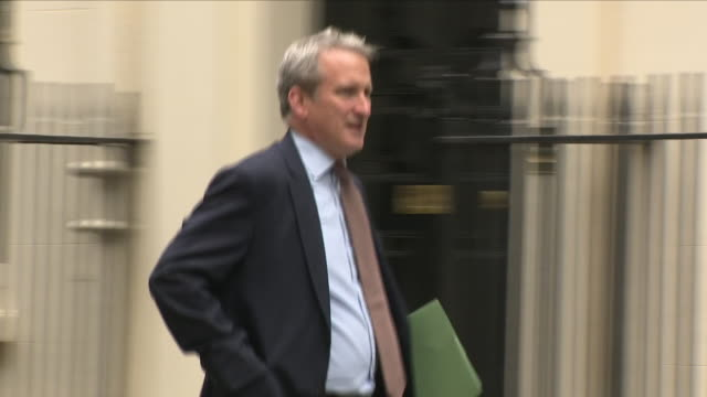 exterior shots of damian hinds mp secretary of state for education arrving at 10 downing street for cabinet meeting on 4th september 2018 in london... - damian hinds stock videos and b-roll footage