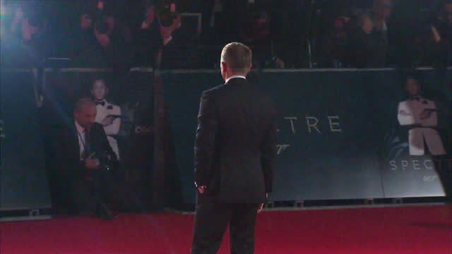 Exterior shots of Daniel Craig posing for photo op at the Royal World Premiere of 'Spectre' at Royal Albert Hall on October 27 2015 in London England