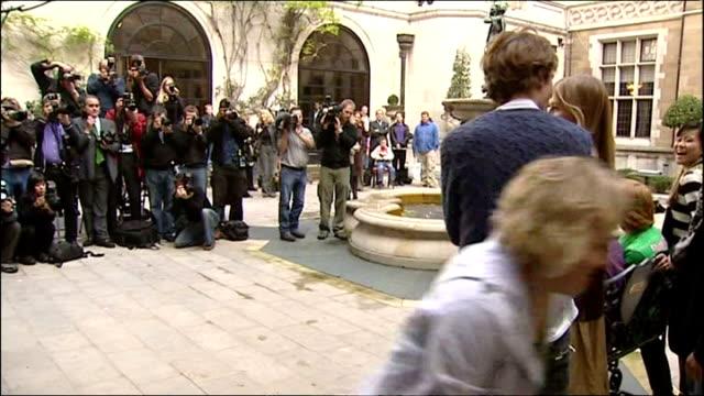 Exterior shots of Daniel Radcliffe Emma Watson Rupert Grint Robert Pattinson Stanislav Ianevski Katie Leung and Clemence Poesy posing for photo op...