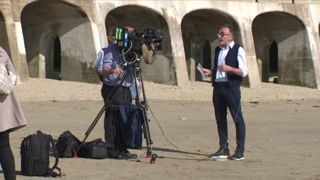 exterior shots of danny boyle on folkestone beach being interviewed by media at the launch of his campaign for a beaches armistice memorial on 5... - armistice stock videos and b-roll footage