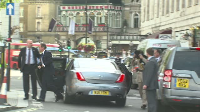 Exterior shots of David Cameron arriving at St Martins in the Fields church for a special service in commemoration of 70 years since VJ Day on August...