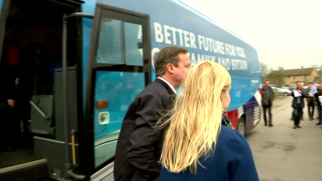 exterior shots of david cameron arriving in witney on general election campaign trail greets conservative candidate nicola blackwood and local... - british liberal democratic party stock videos & royalty-free footage