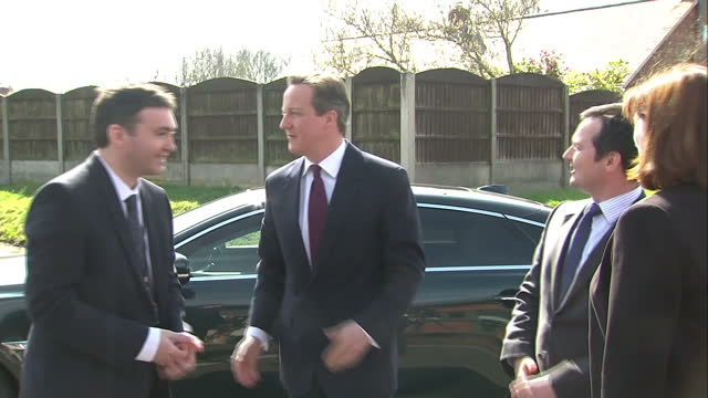exterior shots of david cameron leader of the conservative party visiting a school in bolton after the conservatives announce a new resit policy for... - new age stock videos and b-roll footage