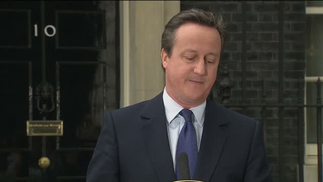 exterior shots of david cameron making final statement from downing street thanking everyone for the honour of being prime minister on july 13 2016... - david cameron politician stock videos & royalty-free footage