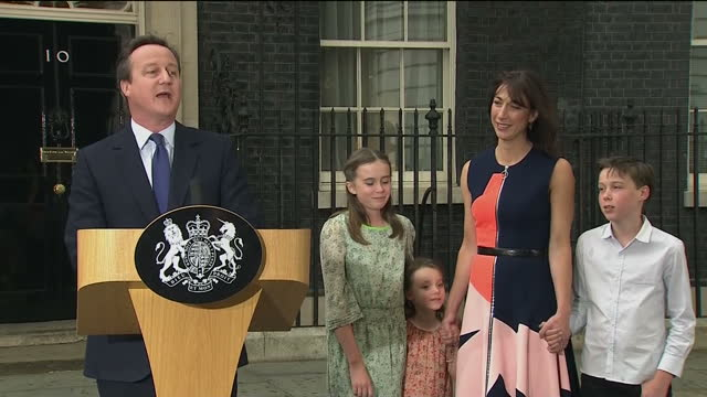 exterior shots of david cameron making final statement from downing street thanking his children and wife samantha cameron on july 13 2016 in london... - david cameron politician stock videos & royalty-free footage