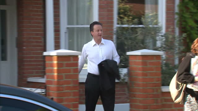Exterior shots of David Cameron MP Conservative Leader walking from his Kensington house to car and departing on May 10 2010 in London England