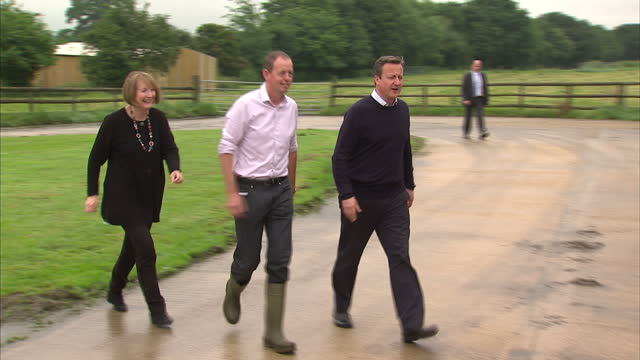 Exterior shots of David Cameron on a visit to an Arla dairy farm whilst campaigning on the last day before the EU referendum on June 22 2016 in...