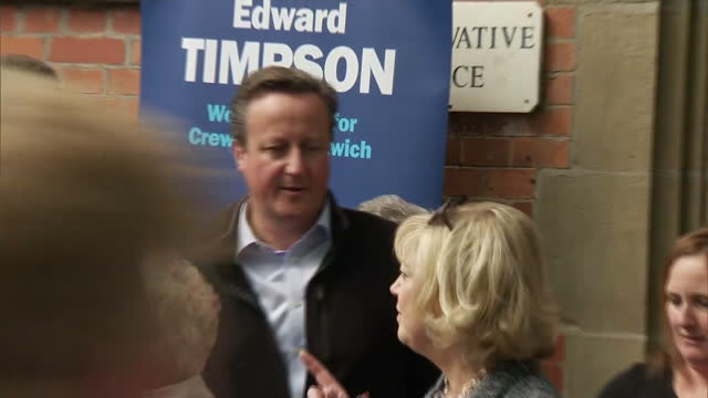 exterior shots of david cameron posing for photos with the candidate for nantwich edward timpson on 12 may 2017 in nantwich, united kingdom - ナントウィッチ点の映像素材/bロール