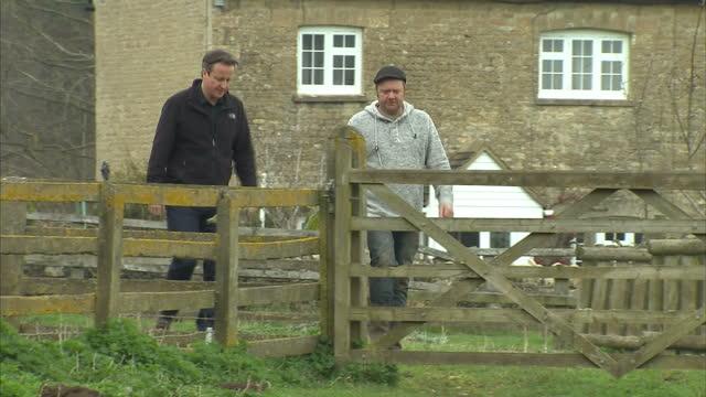 vídeos de stock e filmes b-roll de exterior shots of david cameron walking through field with farmer on april 05 2015 in chipping norton england - chipping norton england