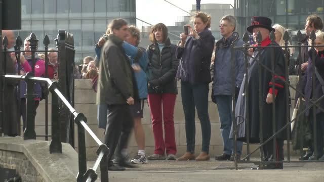 exterior shots of david cameron with wife samantha on tour of tower bridge moat to inspect the poppy display on november 08 2014 in london england - vallgrav bildbanksvideor och videomaterial från bakom kulisserna