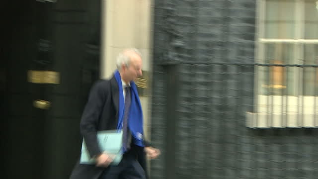 Exterior shots of David Lidington arriving at Number 10 Downing Street and departing after being moved from his position as Justice Secretary to...