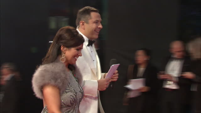 Exterior shots of David Walliams and Susannah Reid arriving at the Royal World Premiere of 'Spectre' at Royal Albert Hall on October 27 2015 in...