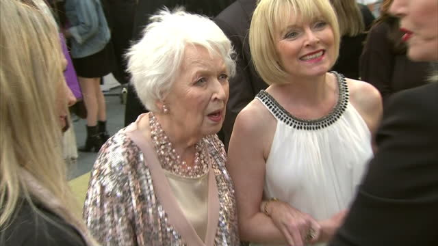 exterior shots of dawn french and joanna lumley greeting june whitfield and suzy aitchison at the premiere of absolutely fabulous the movie>> on june... - dawn french stock videos & royalty-free footage