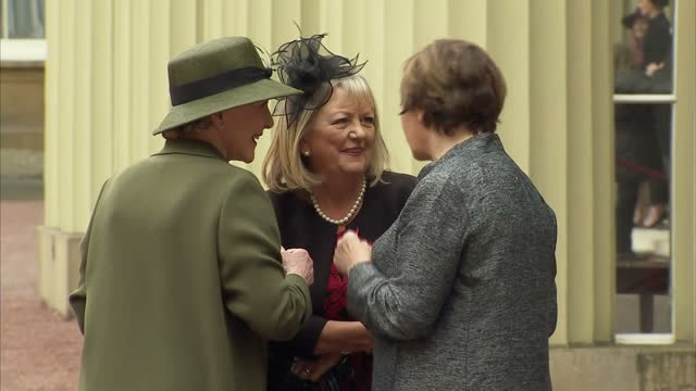 exterior shots of delia smith and patricia hodge outside buckingham palace after receiving honours from the queen on november 14 2017 in london... - patricia hodge stock videos and b-roll footage