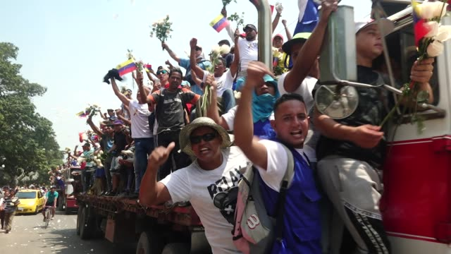 exterior shots of demonstration against nicolas maduro's after aid shipment had been stopped near the border with venezuela on 23 february in cucuta,... - venezuela stock videos & royalty-free footage
