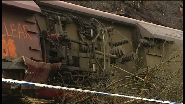 exterior shots of derailed virgin train in grayrigg cumbria with accident investigators examining the scene on february 23 2007 in cockermouth england - zugunglück stock-videos und b-roll-filmmaterial