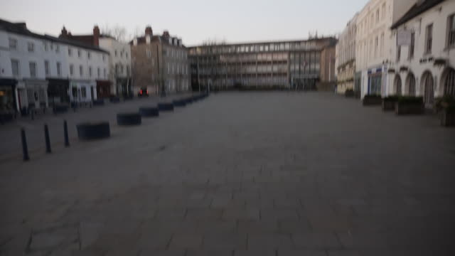 exterior shots of deserted town centre streets and closed shops during the coronavirus lockdown on 27 march 2020 in warwick, united kingdom - city stock videos & royalty-free footage