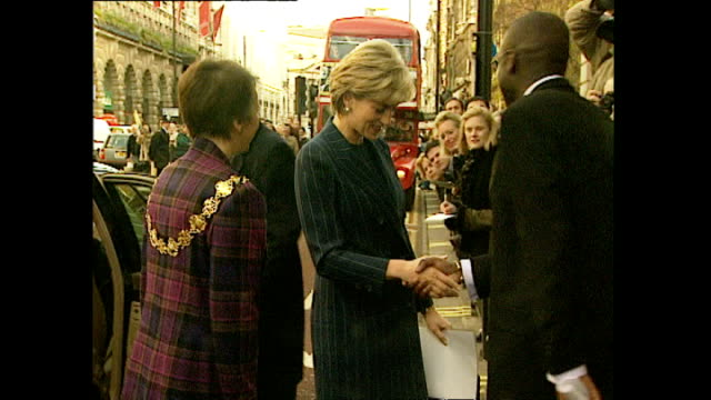 exterior shots of diana princess of wales arriving at the headquarters of bafta for the launch of a centrepoint charity campaign on 2 december 1996... - photographer stock videos & royalty-free footage