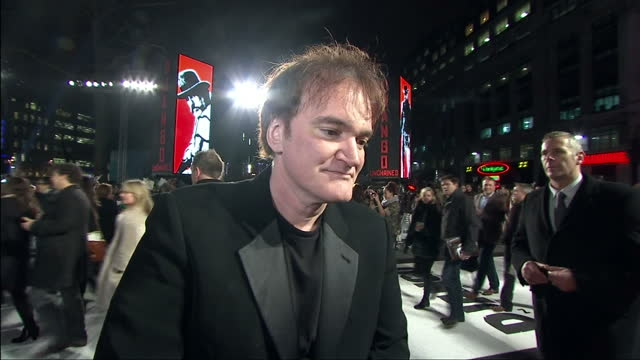Exterior shots of Director Quentin Tarantino on the red carpet at the Django Unchained film premiere Background music will require additional...
