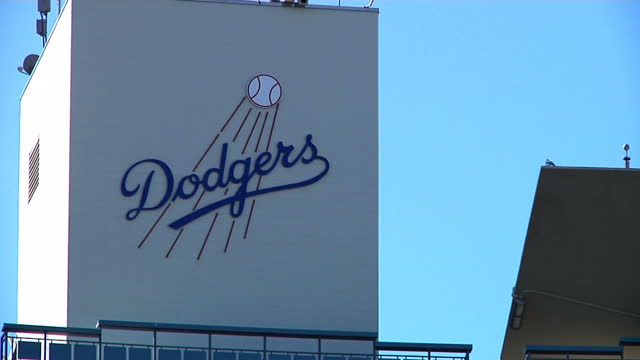 Exterior shots of Dodger Stadium's commentary tower with Dodgers sign home of the LA Dodgers baseball team on December 27 2015 in Los Angeles...