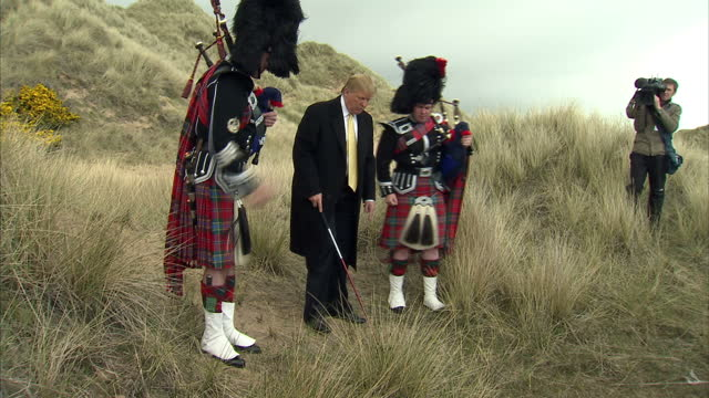 exterior shots of donald trump holding a press conference on the menie estate near aberdeen on may 21 2010 in aberdeen scotland - aberdeen scotland stock videos & royalty-free footage