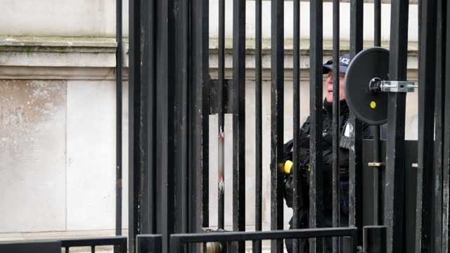 exterior shots of downing street and armed police behind the gates on 14th april 2021 in london, united kingdom. - weaponry stock videos & royalty-free footage