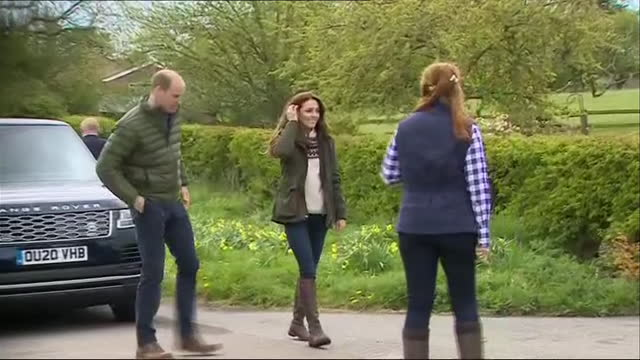 exterior shots of duke of duchess of cambridge kate and prince william visiting manor farm on 27 april 2021 in little stanton, united kingdom. - farm stock videos & royalty-free footage