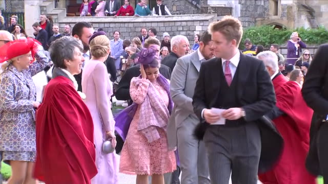 Exterior shots of Duke of Westminster Hugh Grosvenor arriving at St George's Chapel for the wedding of Jack Brooksbank and Princess Eugenie on 12...
