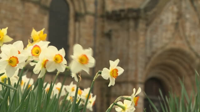 exterior shots of durham cathedral with locked front doors as sermons were livestreamed due to the coronavirus pandemic on 12 april 2020 in durham... - durham england stock videos & royalty-free footage
