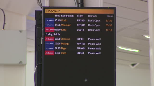 exterior shots of east midlands airport and interior shots of passengers walking through terminal and jet2 check in desk on 8th july 2021 in derby,... - travel stock videos & royalty-free footage