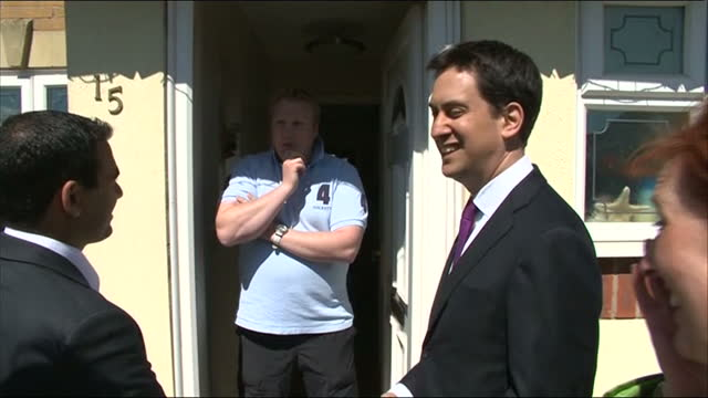 exterior shots of ed miliband, labour leader, and gloria de piero, mp for ashfield, campaigning ahead of the local elections and av referendum.... - gloria de piero stock videos & royalty-free footage