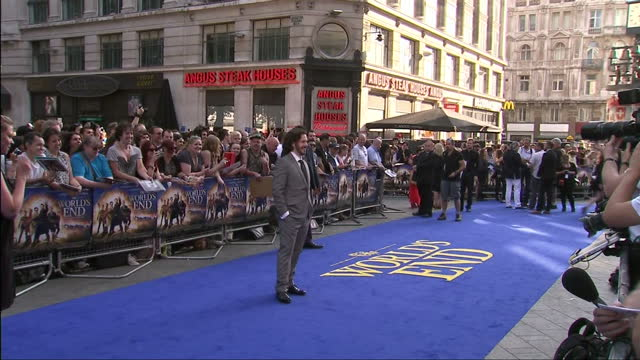 exterior shots of edgar wright standing for photographers on the red carpet at 'the world's end' premiere in leicester square. edgar wright on the... - the world's end stock videos & royalty-free footage