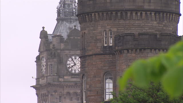 exterior shots of edinburgh city centre iconic landmarks, including holyrood parliament building, rbs bank dome, north bridge, waverley station, the... - tower stock videos & royalty-free footage