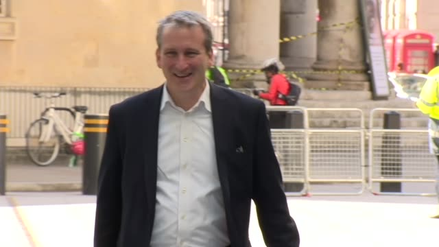 exterior shots of education secretary damian hinds arriving for a recording of the bbc's andrew marr show on 12 may 2019 in london united kingdom - damian hinds stock videos and b-roll footage