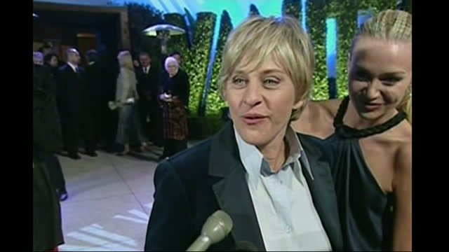 exterior shots of ellen degeneres and portia de arriving at the vanity fair party and model on 25 february 2007 in hollywood, united states. - oscar party stock videos & royalty-free footage