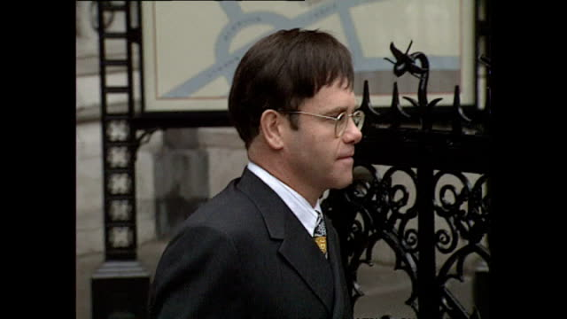 Exterior shots of Elton John George Michael arriving at the Royal Courts of Justice for case against Sony Music Entertainment on November 01 1993 in...
