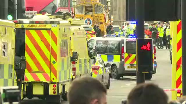 exterior shots of emergency services personnel and vehicles on westminster bridge in the aftermath of the terror attack in westminster on march 22,... - westminster bridge stock videos & royalty-free footage