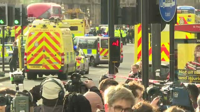 exterior shots of emergency services personnel and vehicles on westminster bridge in the aftermath of the terror attack in westminster including... - westminster bridge stock-videos und b-roll-filmmaterial