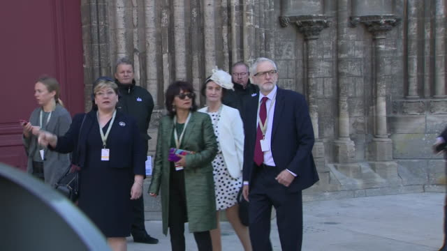 exterior shots of emily thornberry and jeremy corbyn arriving at cathedral of bayeux for ceremony to commemorate the 75th anniversary of the dday... - d day stock-videos und b-roll-filmmaterial