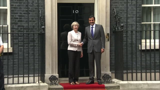 Exterior shots of Emir of Qatar Tamim bin Hamad Al Thani meeting UK Prime Minister Theresa May at 10 Downing Street on September 15 2016 in London...