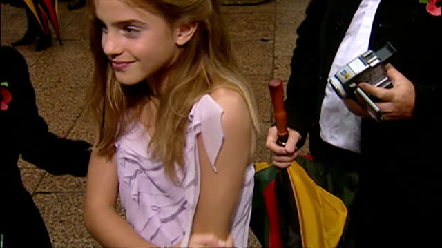 exterior shots of emma watson speaking to press at the premiere of harry potter and the chamber of secrets. on november 3, 2002 in london, england. - film premiere stock videos & royalty-free footage