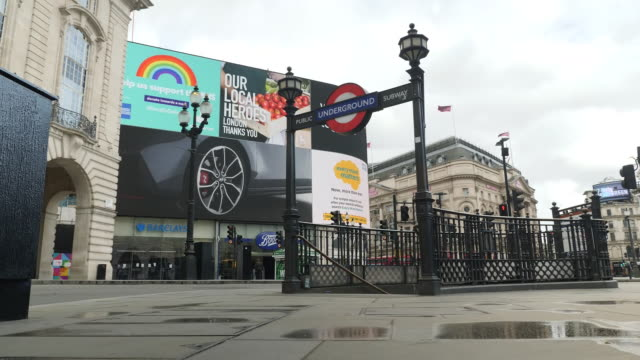 exterior shots of empty streets and london underground station in piccadilly circus during the coronavirus epidemic on 30th april 2020 london, united... - underground station stock videos & royalty-free footage