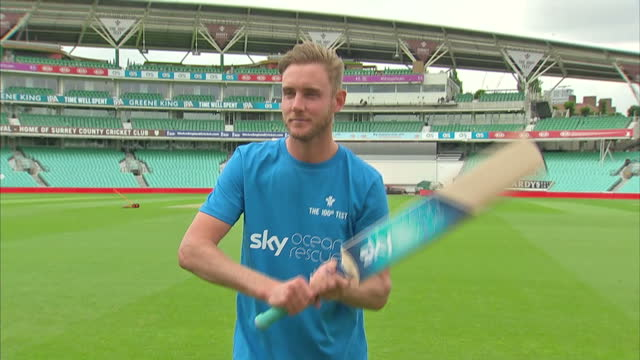 Exterior shots of England cricketer Stuart Broad batting plastic bottles during a media event at the Kia Oval cricket ground