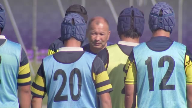 exterior shots of england rugby head coach eddie jones taking a training session with a local rugby team ahead of the 2019 rugby world cup final on... - sports team stock videos & royalty-free footage